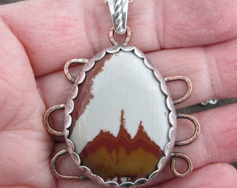 Picture Jasper Sterling Silver and Copper Mixed Metal Pendant