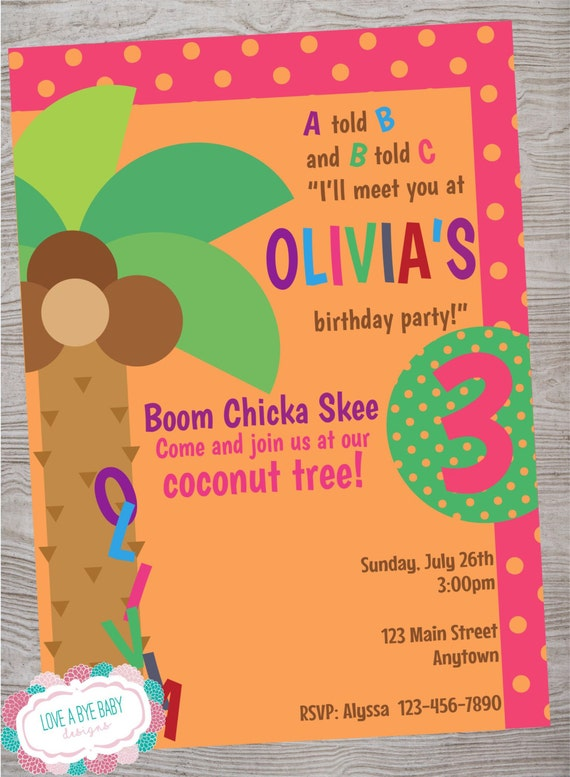 Coconut Tree Birthday Party Baby Shower Invitation Printable