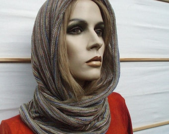 Infinity Scarf Hood Cape Cowl Moss and Lichen
