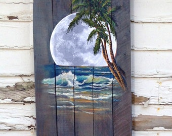 Wood Pallet Sign - Ocean night with Palm Tree and Moon optional last name