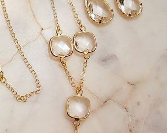 Clear faceted Quartz Crystal Spyglass Y style necklace