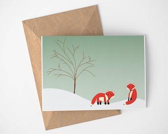 Carte, carte de Mr Fox, confortable hiver carte, carte avec la neige, la faune carte, carte de vacances sans mots, carte de vacances Non - religieux de renard