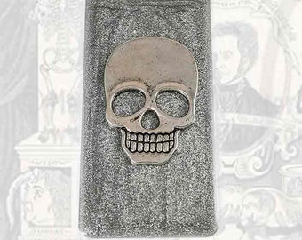 Money Clip Antique SIlver Skull Inlaid in Hand Painted Metallic Silver Enamel on a Silver Plated Clip