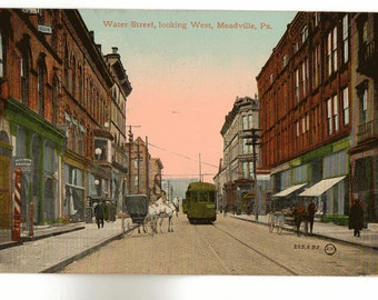 Vintage Postcard, Meadville, Pennsylvania, Water Street, Horse and Buggy, 1910