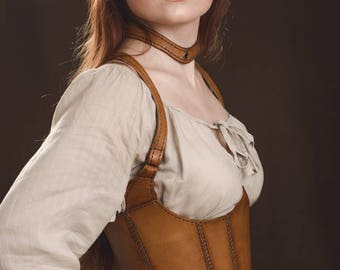 Leather Underbust Corset With Straps - Handmade - Medieval Dress - Steampunk - Cosplay
