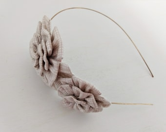 Headband Embellished with Two Print Fabric Flowers