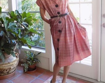 Vintage 1940's dress checked soft salmon big buttons: medium