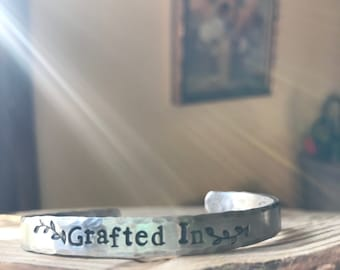 "Grafted In Cuff   Available  in silver or copper. Standard size is 6"" fits most. Also available in 7"""