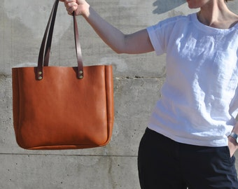 Italian Leather Tote Bag, Leather Laptop Bag, Italian Leather Purse, Leather Tote with Zipper, Leather Shoulder Bag, Leather Bag