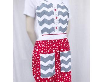 Chevron and dots sweetheart apron