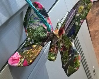 Floral decoupage hanging butterfly