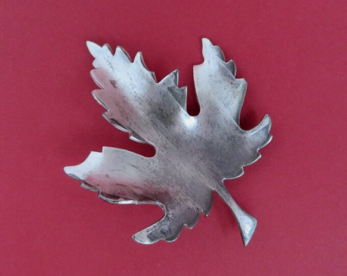 Vintage Leaf Brooch, Pewter Pin, Signed Giovanni Jewelry, Pewter Toned Brooch, Vintage Jewellery Gift Idea for Her