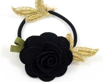Camellia - black flower bracelet or hair elastic