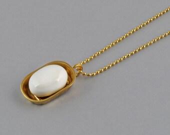Choker Necklace, Porcelain lain Shoap Dish, White porcelian, plated gold chain, ceramic jewelry, lain Shoap Dish, original pendant