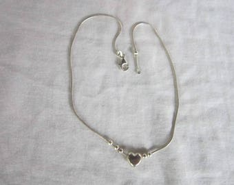 Vintage Italian Sterling Silver Snake Chain Necklace with Heart & Balls