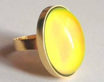 Mood Ring 24K Gold Plated Sterling Silver 925 color changing big stone
