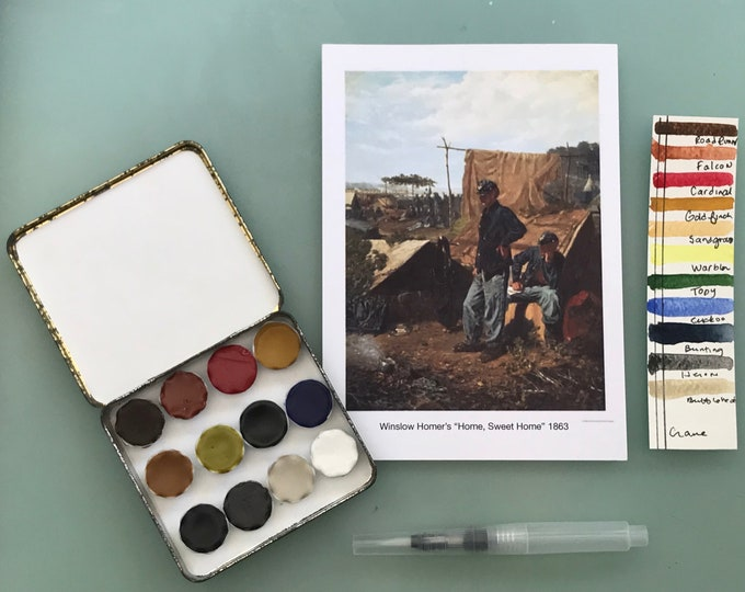 Handmade watercolor paint palette LIMITED edition 12 well ceramic pans- vintage Cigar Tin - Inspired by Winslow Homer  with Water Brush