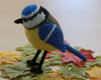 Hand Knitted Blue Tit Collectable Decoration Garden Bird
