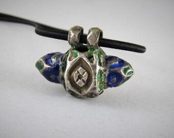 Collana con antico pendente in argento e smalti - pendente Multan - Pakistan