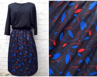 80's dress, vintage women's fashion, electric blue and red