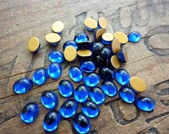 Rhinestone Vintage Swarovski 8x6 Oval Glass Rhinestone (12) Dark Sapphire
