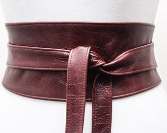 OX Blood Brown Leather Obi Belt | Corset Belt | Brown Obi Belt | Real Leather Belt| Plus Size Accessory | Waist Wrap Belt