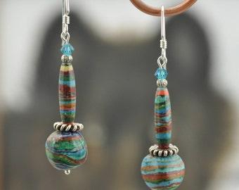 Rainbow Calsilica .925 silver Swarovski dangle Earrings