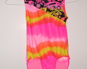 Girls hot pink, yellow, pink, and orange leotard in any size