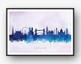 London Skyline, London Cityscape England, Art Print, Wall Art, Watercolor, Watercolour Art Decor [SWLDN10]