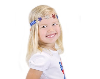 Rhinestone Stars Headband, Patriotic Headband, Red White Blue Headband, 4th of July, Independence Day, July 4th, Newborn Photo Prop, Adult