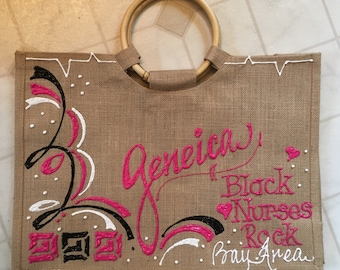 16x16 handpainted,personalized jute tote with bamboo handle- customized for anyone