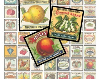 Collage Sheet - Eat Your Fruits and Veggies - Vintage Vegetable Labels - One Inch Squares - Instant Download - Printable