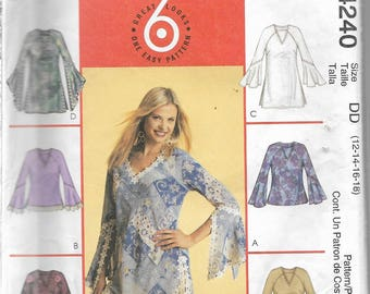 Uncut Sewing Pattern - McCall's 4240 - PETITE TOPS & TUNICS - 6 Great Looks - One Easy Pattern - Very Cute Sleeve Variations - Fringe Trim