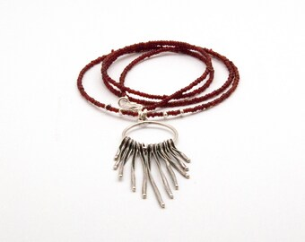 Fringe Long Necklace, Boho Red Long Pendant Necklace, Sterling Silver Spike Necklace, Fashion Tassel Necklace, Unique Necklace Gift for Her