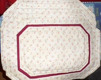 OCTAGONAL PLACEMAT SET - Cottage Calico - Up-cycled - Burgundy Trim - Shabby Chic