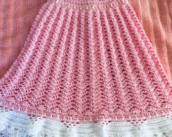 Summer Pink and White baby dress. Size 6-9 months.
