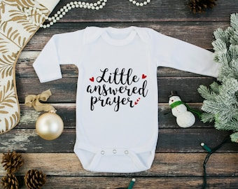 New baby going home outfit - new baby gift - long sleeve one piece - little answered prayer - hearts