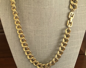Vintage GIVENCHY Gold Chainlink Necklace. 24-Inch Goldtone Wide Double Chainlink Designer Chunky Necklace. Signed GIVENCHY. Gifts for Her.
