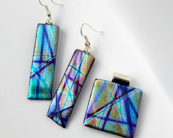 Set of Matching Earrings and Necklace Dichroic Jewelry Set Purple Drop Earrings Matching Slide Necklace Pendant
