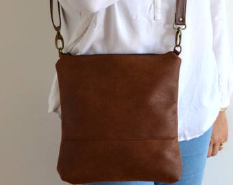Distressed Cross Body Bag Purse, Brown Bag, Simple Purse