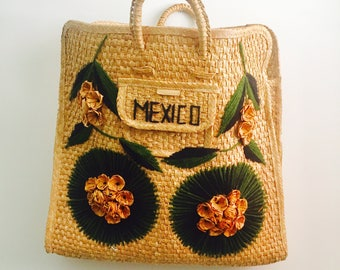 Vintage Wicker Tote Straw Bag Made in Mexico Shopper