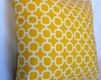 Modern yellow geometric accent pillow with zipper, 16 X 16""
