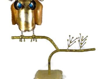 Curtis Jere Owl Sculpture, Vintage Mid Century Modern Curtis Jere Owl Table Top Sculpture, Early Curtis Jere Sculpture