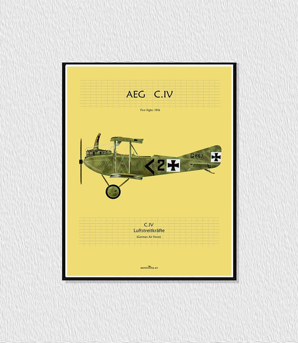 AEG C.IV older Aeroplane 1910s green poster printable