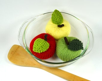 Knit Apples - Set of Three (3) - Back to School Decoration or Teacher Gift