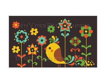 Bird Cross Stitch, Birds and Flowers, Needlepoint, Bird Cross Stitch, Bird Needlepoint, Flowers Cross Stitch from NewYorkNeedleworks on Etsy