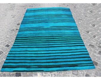 Kilim rug,270x157cm,8.9x5.1 ft,Kilim,Blue Rug Rugs,Turkish rug,Turkish kilim,Handmade rug,Turkish kilim rug,Vintage Kilim,Blue kilim,1073.