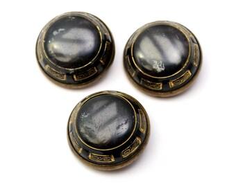 Antique Victorian black grey glass brass enamel drum buttons set of 3