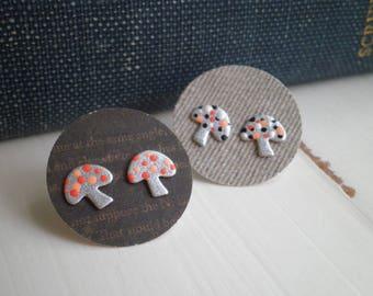 Vintage Mushroom Stud Earrings - Spotted Woodland Shrooms Hand Painted Post Earrings - Retro Toadstool Polka Dot Art Earring / Jewelry Gift