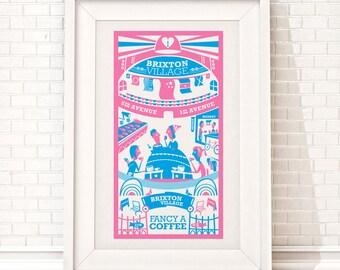 Brixton Village Print | London illustration | Brixton art | City print | Travel poster | London wall art | Brixton poster